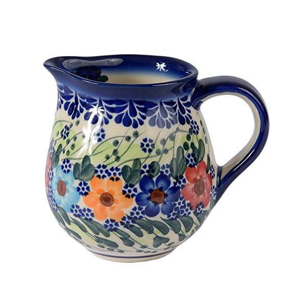 Traditional Polish Pottery, Handcrafted Ceramic Cream or Milk Jug 275ml, Boleslawiec Style Pattern, J.101.Garland