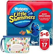 Huggies Little Swimmers Disposable Swim Diapers, Swimpants, Size 5-6 Large (Over 32 Pound), 17 Count, with Hug