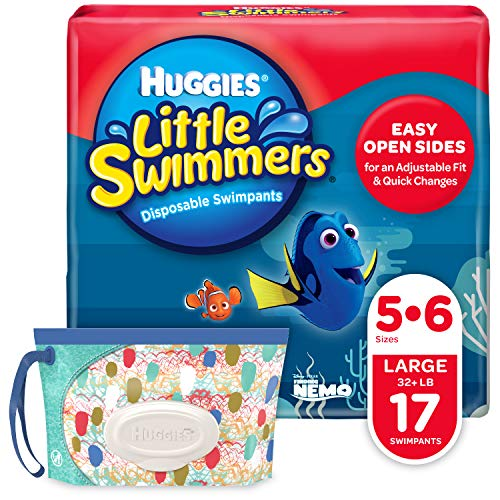 Huggies Little Swimmers Disposable Swim Diapers, Swimpants, Size 5-6 Large (Over 32 lb.), 17 Ct, with Huggies Wipes Clutch 'N' Clean Bonus Pack (Packaging May Vary)