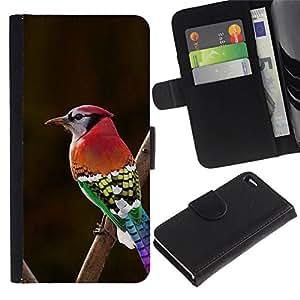 All Phone Most Case / Oferta Especial Cáscara Funda de cuero Monedero Cubierta de proteccion Caso / Wallet Case for Apple Iphone 4 / 4S // rojo verde marrón pico rojo rama marrón