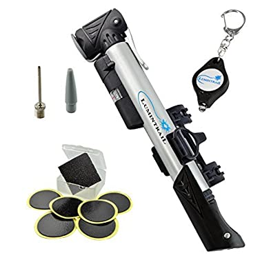 Lumintrail Mini Bike Pump with Gauge and Glueless Puncture Repair Kit For Presta & Schrader w/ Telescoping High Volume Body, Frame Mount
