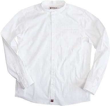 Sinologie - Camisa con Cuello Mao de poleina de algodón, Color Blanco Blanco XXL: Amazon.es: Ropa y accesorios