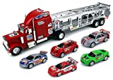 Speed Blitzer Trailer Children's Friction Toy Truck Ready To Run Big Size w/ 5 Toy Cars, No Batteries Required (Colors May Vary)