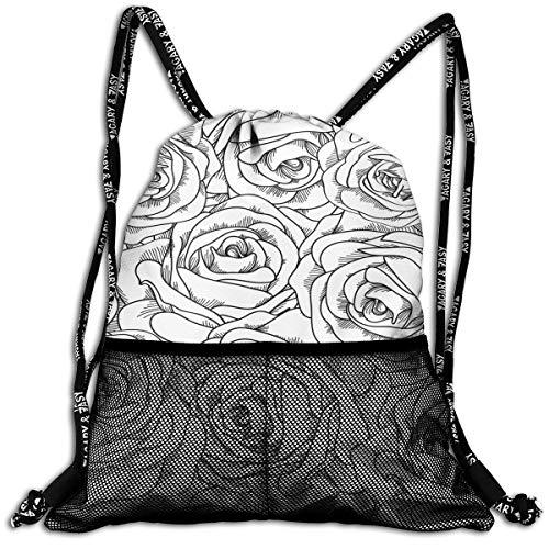 Black White Rose Drawstring Backpack Swiming Traveling Sackpack Large Capacity Beam Backpack, Home Travel Storage Use Gift For Men & Women, Girls - Bag Chair Volleyball Bean