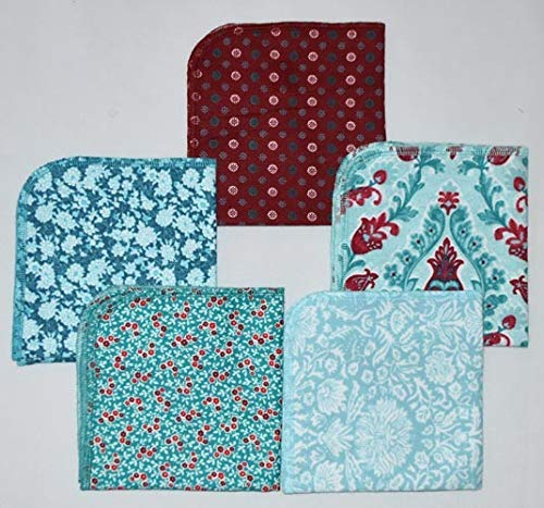 French Baroque Printed Flannel Paperless Towels 1 Ply 12x12 Inches Set of - Printed Calico