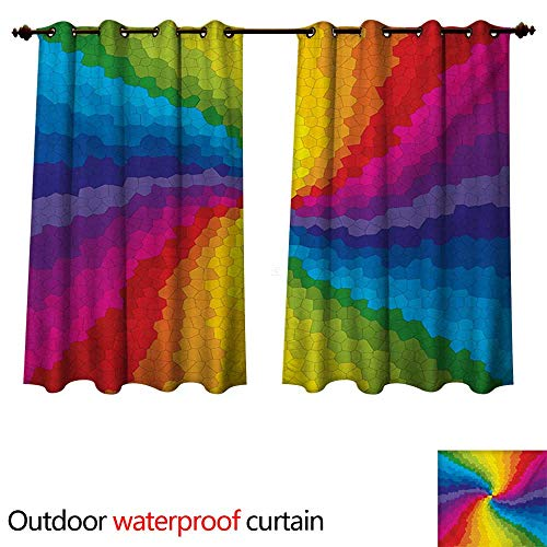 ul Outdoor Ultraviolet Protective Curtains Stained Glass Design in Rainbow Colors Burst Effect Abstract Mosaic Swirls Artwork W63 x L63(160cm x 160cm) ()