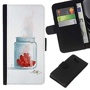 A-type (Tarro de los corazones del amor) Colorida Impresión Funda Cuero Monedero Caja Bolsa Cubierta Caja Piel Card Slots Para Samsung ALPHA G850