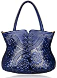PIJUSHI Designer Flower Handbag Womens Top Handle Shoulder Satchel Bag Holiday Gift (22331 Blue)