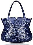 PIJUSHI Designer Floral Handbag for Women Top Handle Satcehl Bags Cheongsam Shoulder Bag (22331 Blue)
