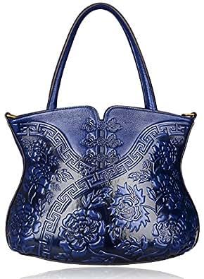 PIJUSHI Designer Flower Handbag Womens Top Handle Shoulder Satchel Bag (22331 Blue)