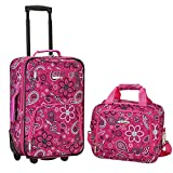 Rockland Fashion Softside Upright Luggage Set, Pink Bandana