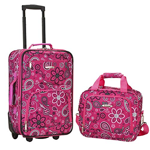 (Rockland Luggage 2 Piece Printed Luggage Set, Pink Bandana, Medium)