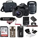 Canon EOS 80D DSLR Video Creator Kit w/18-55mm lens, Rode VIDEOMIC GO, 32GB Card, Canon 100ES DSLR Bag & Kit