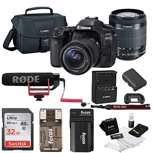 Canon EOS 80D DSLR Video Creator Kit w/18-55mm lens, Rode VIDEOMIC GO, 32GB Card, Canon 100ES DSLR Bag & Kit -  ACAN80D1855VIDK1