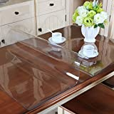 MAGILONA Home PVC 1.5mm Thick Tablecover Waterproof Crystal Clear Table Top Plastic Tablecloth Kitchen Dining Room Wood Furniture Protective (31.5x47 Inch(80x120cm), Clear/1.5mm)