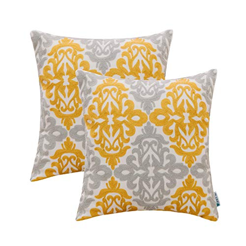 HWY 50 Linen Yellow Decorative Embroidered Throw Pillows Covers Set Cushion Cases for Couch Sofa Living Room Geometric Floral 18x18 inch Pack of 2