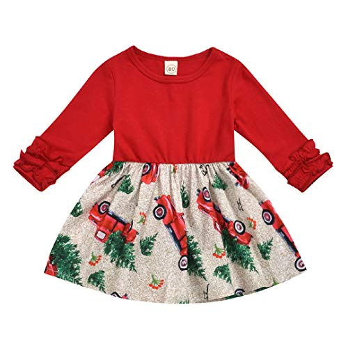 Newborn Baby Girl Christmas Outfits Long Sleeve My First Christmas Jumpsuit Romper Skirt Dresses Set (Red-3, 4T/5T)