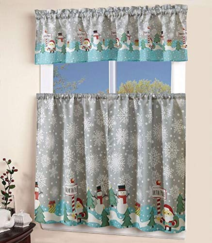 "3 Piece Kitchen Curtain Linen set - 2 Tiers 27"" W (each) x 36"" L + 1 Tailored Valance 54"" W x 15"" L, Christmas Holiday Season Kitchen Curtain Décor,Snowman Snowflake Christmas Tree Kitchen Curtain"