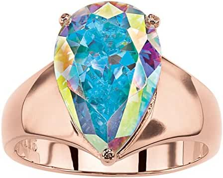Pear-Cut Simulated Aurora Borealis Cubic Zirconia Rose Gold-Plated Cocktail Ring