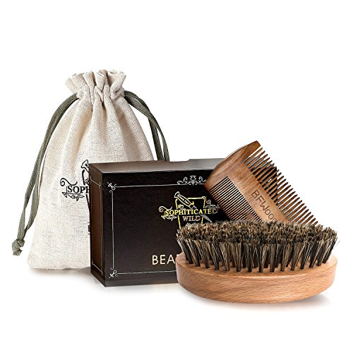 BFWood Beard Brush with Boar Bristle and Comb Set - Military Style Perfect Gift Set by BFWood