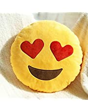 Heart Eyes - Cute Emoji Pillow Smiley Emoticon Yellow Round Cushion