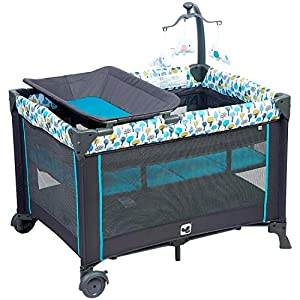 Pamo Babe Deluxe Nursery Center ,Portable Playard with Comfortable Mattress,Changing Table and Toys