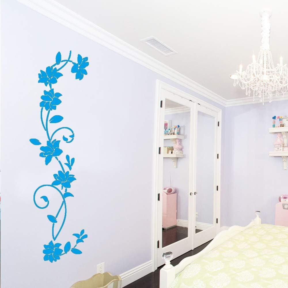 Flores lindas Pegatinas de pared Calcomanías de arte de pared Accesorios de decoración de dormitorio Decoración para sala de estar Habitación de bebé extraíble Muraux azul 43cm X 155cm: Amazon.es: Bebé
