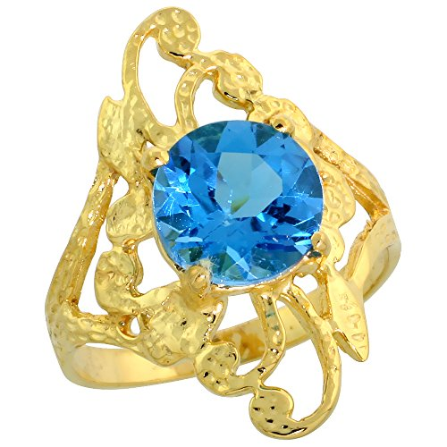 (10k Gold Diamond-shaped Floral Stone Ring, w/ 1.75 Carats (8mm) Round Brilliant Cut Blue Topaz Stone, 7/8 in. (22mm) wide, size 9)