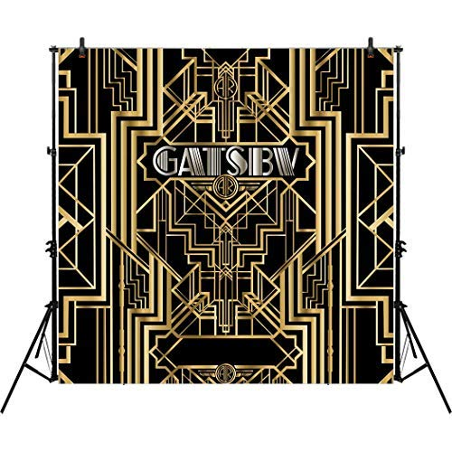 Allenjoy 8x8ft The Great Gatsby Themed Backdrop for Adult Celebration Retro Roaring 20's 20s Party Art Table Decor Happy 1st Birthday Wedding Decoration Pictures Background Supplies Photo Booth Prop -