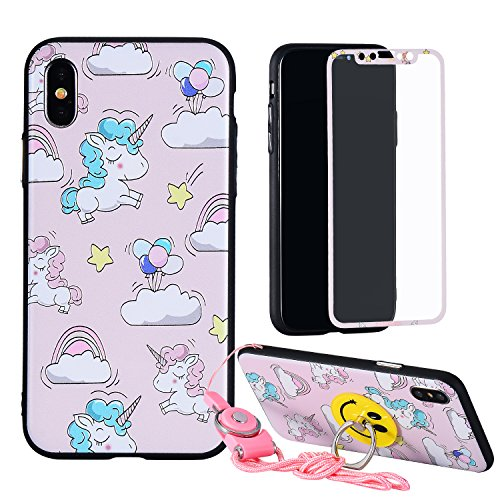 iPhone X Unicorn Cartoon Case,Full Body Curve Soft Edge Print Cute Horse TPU Coverage Cover,Tempered Glass Screen Protector,Ring Holder Kickstand,Animal Kids Girls Kawaii Character Unique iPhoneX (Cartoon With Glasses)