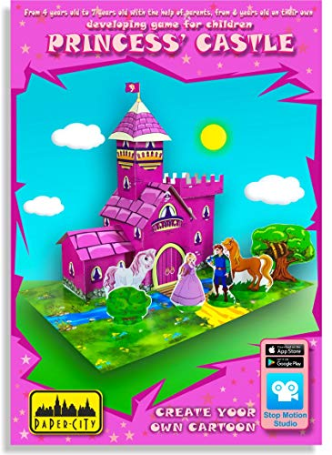 Paper City Princess Castle Educational Toy for Kids Age 4-12 Years Old&Up - Learning Games and Crafts Activity for Girl - DIY Gift Paper Model Play Kit