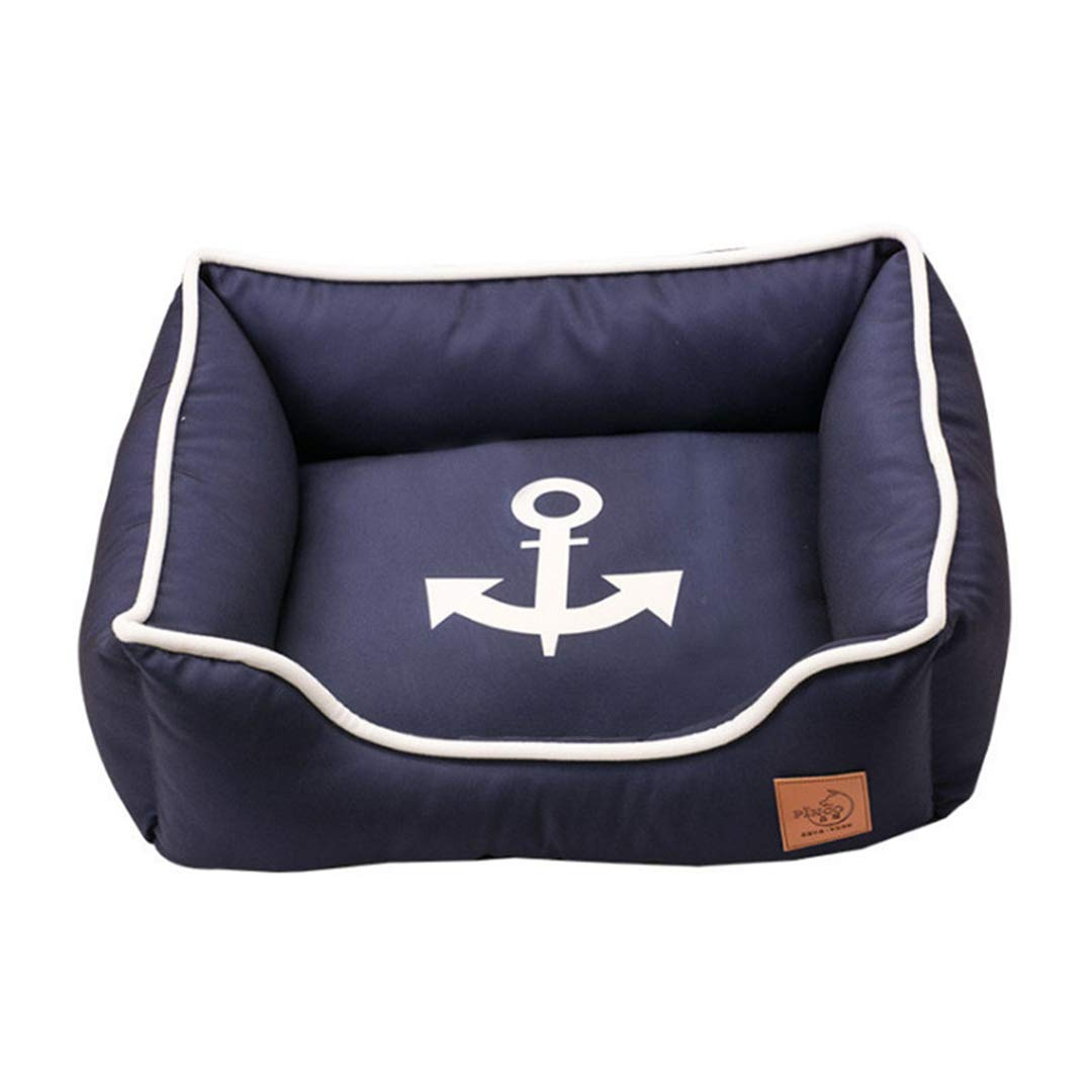 Navy anchor XS 38x30x16cm navy anchor XS 38x30x16cm Waterproof Dog Bed Non-Sticky Fur Thicken Pet Bed for Small Dogs Cat Removable Washable Rectangular