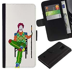 Paccase / Billetera de Cuero Caso del tirón Titular de la tarjeta Carcasa Funda para - poket on chair - Samsung Galaxy S5 Mini, SM-G800, NOT S5 REGULAR!