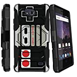 MINITURTLE Case Compatible w/ Case for ZTE Majesty Pro Plus, ZTE Majesty Pro Cover [Clip Armor][Bonus Holster][Stand Case] Hybrid Layers Hard Shell Impact Case – Game Controller Retro Review