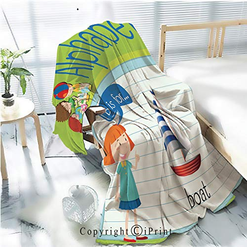 (AngelSept Flannel Printed Blanket for Warm Bedroom,Flashcard Letter B is for boat1 Cracked Burning Earth Decorative,One Side Printing,W47.2 x H78.7 )