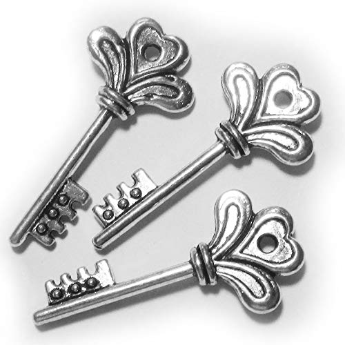 Heather's cf 50 Pieces Silver Tone Small Key Beads DIY Charms Pendants 20X8mm