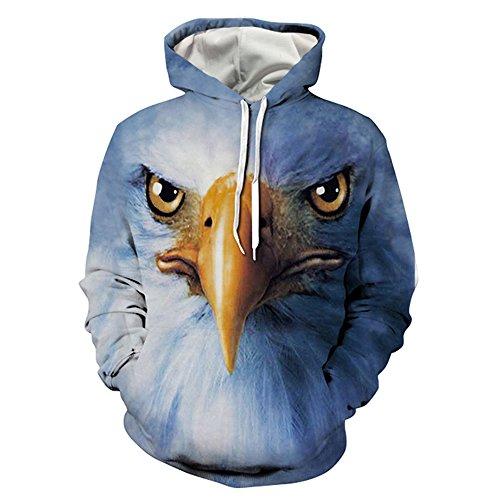 Olive tree Unisex Animal 3d Pullover Hoodies Hooded Sweatshirts With Kangaroo Pockets Eagle L (Eagle Hoodie)