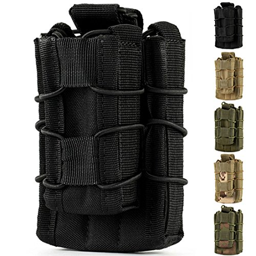 Double Mag pouch, Hoanan Tactical Molle Magazine Pouch Open-Top Single Rifle Pistol Mag Pouch Cartridge Clip Pouch Hunting Bag (black)