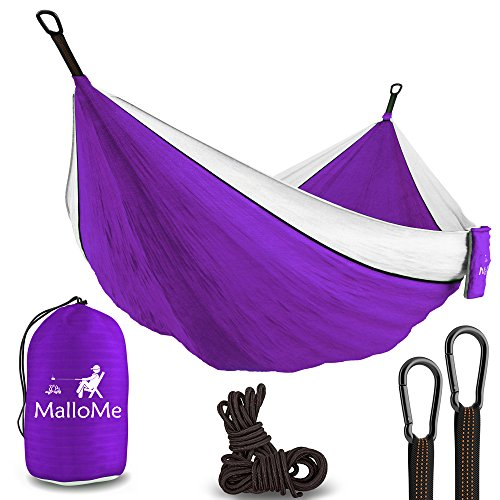 XL Double Parachute Camping Hammock - Tree Portable with Max 1000 lbs Breaking Capacity - Lightweight Carabiners and Ropes Included For Backpacking, Camping, Hiking, Travel, Beach, Yard, 125
