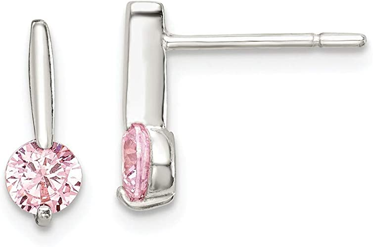925 Sterling Silver Polished CZ Post Earrings