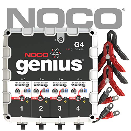 NOCO Genius G4 6V/12V 4.4 Amp 4-Bank Advanced Battery Trickle Charger ()
