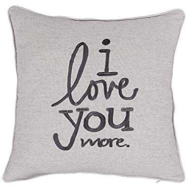 ADecor Pillow Covers I Love you more pillow cases embroidered cushion covers love throw pillow couple wedding anniversary gift P353 (18X18, Love u more(Linen))