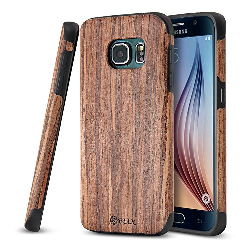 Galaxy S7 Case, BELK [Air To Beat] Non Slip [Slim Matte] Wood Tactile Grip Rubber Bumper [Ultra Light] Soft TPU Back Cover, Premium Smooth Wooden Shell for Samsung Galaxy S7 - 5.1 inch, Cherry