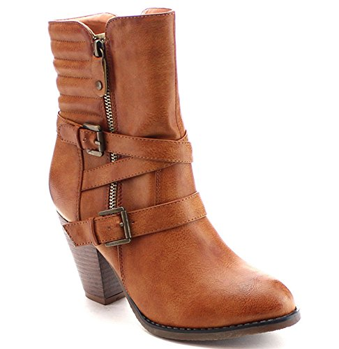 Women's Strappy Chunk Heel Dual Buckle Padded Back Dress Boots in Black, Tan, Brown (7, Tan)