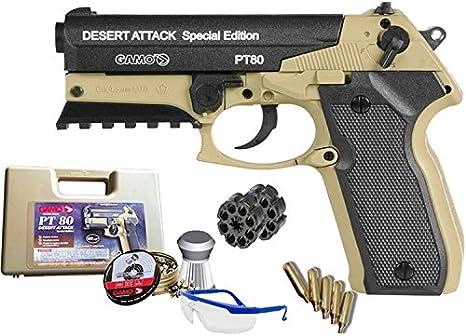 Gamo Pack Pistola PT 80 Dessert Attack Special Edition de balines <3,5 Julios
