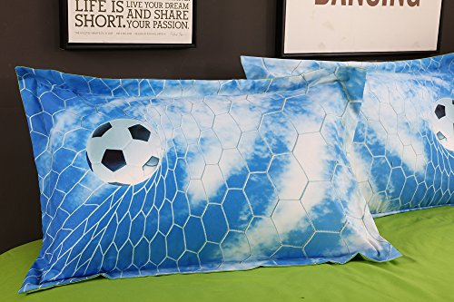 Alicemall Kids Football Bedding 3D Soccer Field and City Scenery Duvet Cover Set 4 Pieces Cotton and Tencel Blended Super Soft Cool Sports Bedding Set, King Size Football Sheets Set (King, Light Blue) by Alicemall (Image #4)