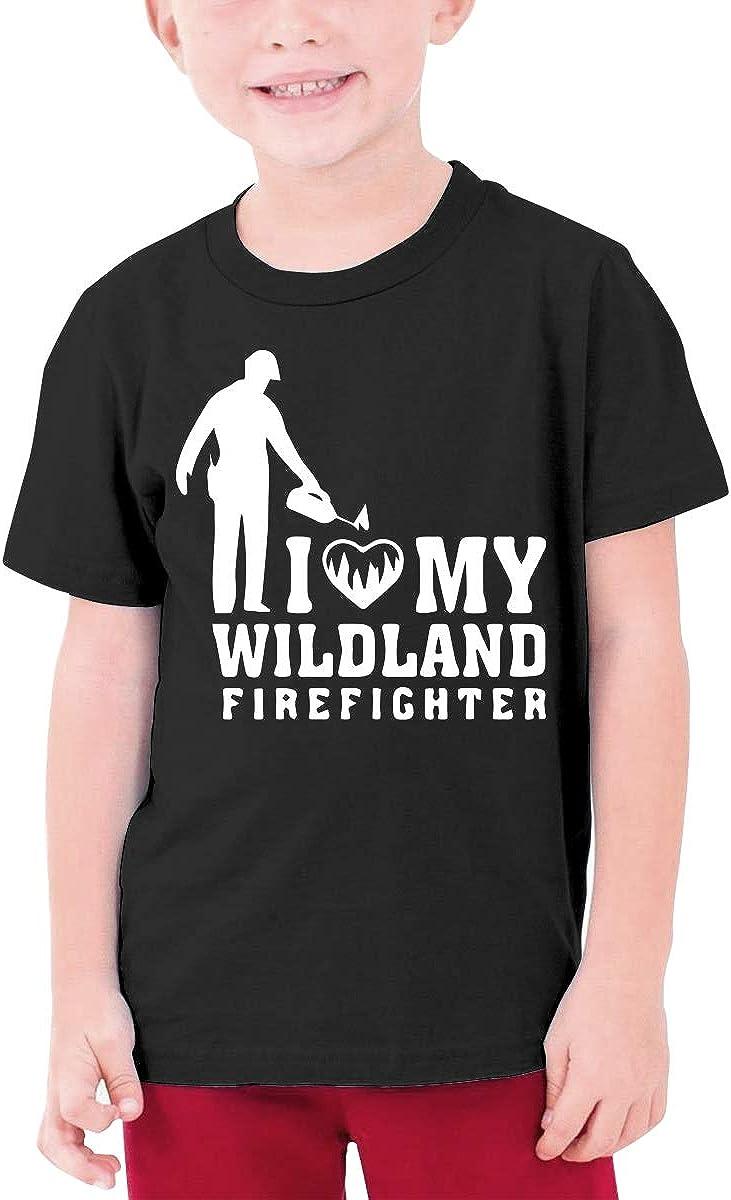I Love My Wildland Firefighter Children Teen Boys Short-Sleeved T Shirt