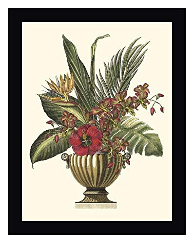 "Tropical Foliage in Urn I by Vision Studio - 12"" x 15"" Black Framed Giclee Canvas Art Print - Ready to Hang"