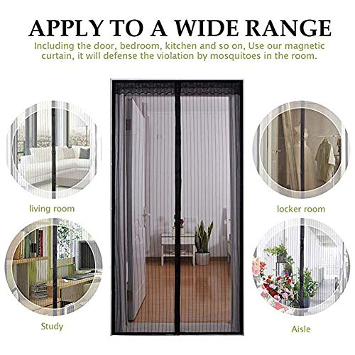 (ZQXXX Magnetic Screen Door, Mosquito Net Curtain, Mesh Fly Screen, Upper and Lower Sealing Snaps Automatically Closed,)