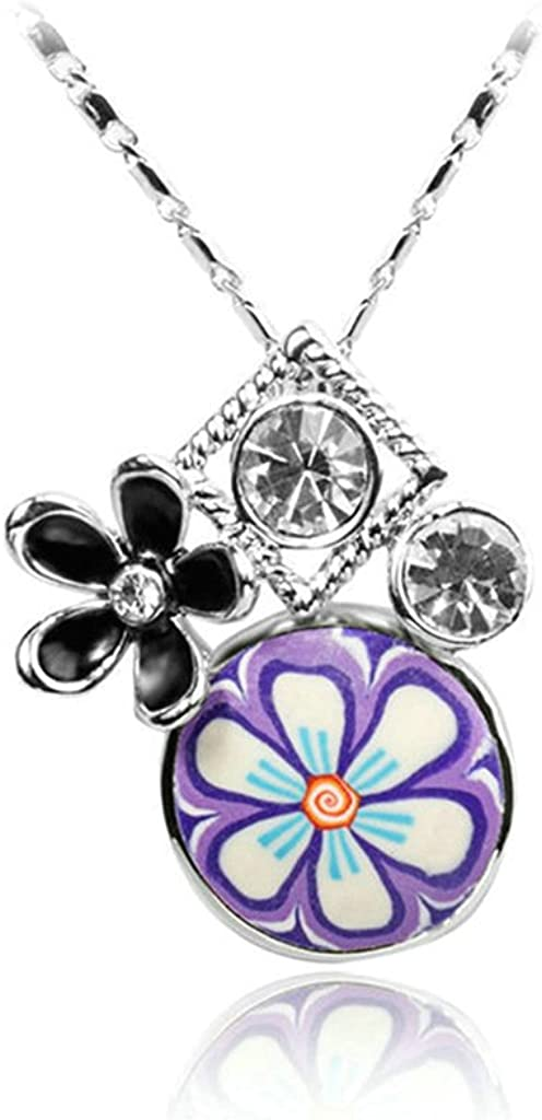 Epinki Platinum Plated Womens Girls Pendant Necklace Cubic Zirconia Flower White Gold
